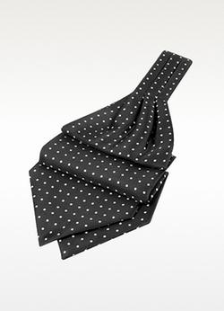 Forzieri - Polkadot Printed Twill Silk Ascot Tie