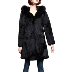 Furstory - Long Real Rabbit Fur Coat