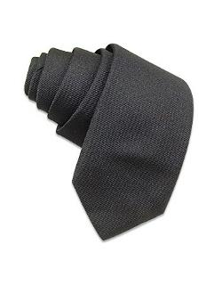 Forzieri - Solid Dark Grey Twill Silk Narrow Tie