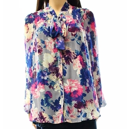 Bellatrix - Floral Neck Tie Button Down Blouse
