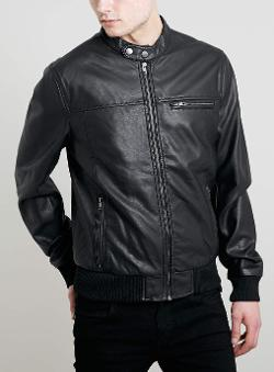 Topman - Black Faux Leather Bomber Jacket