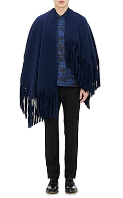 Burberry XO Barneys New York - Fringed Felted Poncho