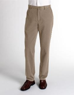 BLACK BROWN  - 1826 Flat Front Cotton Twill Pants