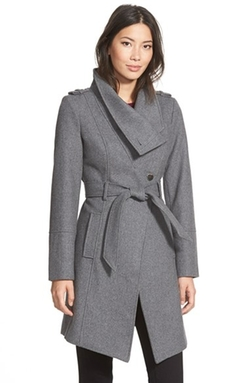 Guess - Belted Asymmetrical Wool Blend Trench Coat
