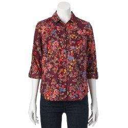 Croft & Barrow - Floral Roll-Tab Shirt