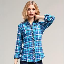 Veri Gude - Turn-Down Collar British Style Contrast Color Pure Cotton Plaid Shirt