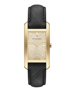 Burberry - Golden Rectangle Watch With Leather Check Strap
