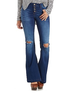 Charlotte Russe - Button-Fly Destroyed Flare Jeans