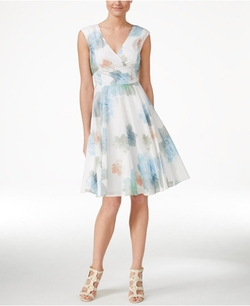 Calvin Klein - Floral-Print Cap-Sleeve Fit & Flare Dress