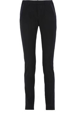 Saint Laurent - Satin-Trimmed Grain De Poudre Wool Tapered Pants