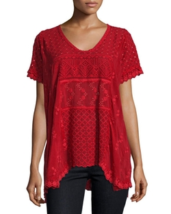 Johnny Was Collection - Short-Sleeve Embroidered Eyelet Top