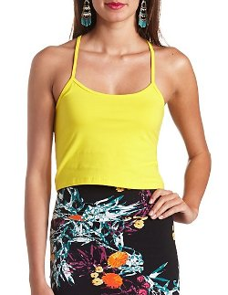 Charlotte Russe - Cotton Racerback Crop Top