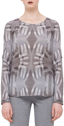 Akris Punto - Roll-Up-Sleeve Handprint Blouse