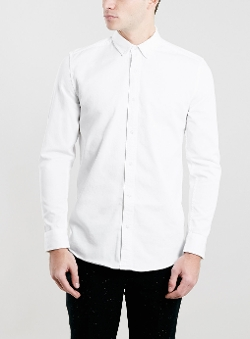 Topman - Washed White Twill Long Sleeve Shirt