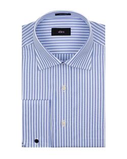 Alara - Fancy Blue Stripe Medium Spread Collar French Cuff In Egyptian Cotton Dress Shirt
