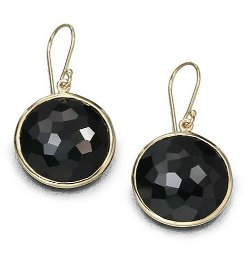Ippolita -  Lollipop Black Onyx & Yellow Gold Large Drop Earrings