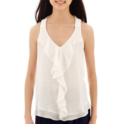 By & By - Sleeveless Solid Chiffon Ruffle-Front Top