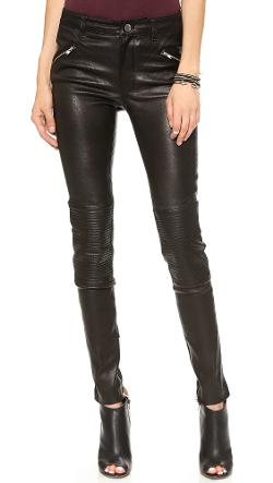 Blk Dnm - Stretch Leather Biker Pants 1