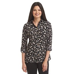 Jones New York Signature - Long Roll Sleeve Floral Woven Blouse