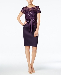 Adrianna Papell  - Belted Sequined Floral-Lace Sheath Dress