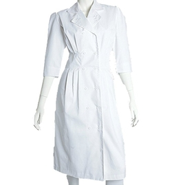 Barco Uniforms - Prima Missy 2 Pocket White Embroidered Button Front Dress