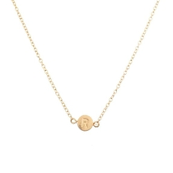 "Lux Accessories - Delicate Simple Round ""R"" Initial Name Pendant Necklace"