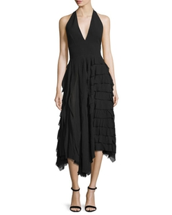Michael Kors Collection - Halter-Neck Tiered-Ruffle Midi Dress