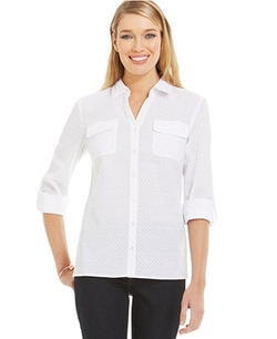 Jones New York  - Embroidered Button-Down Shirt