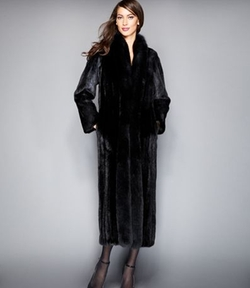The Fur Vault - Fox-Trimmed Mink Maxi Coat
