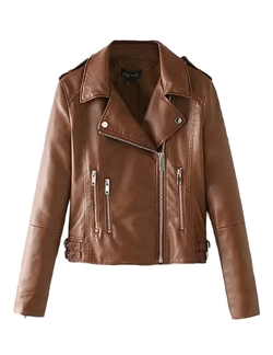 Jollychic - Epaulet Faux Leather Jacket