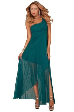 Hot from Hollywood - One Shoulder Empire Waist Maxi Long Dress
