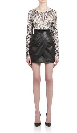 Balmain - Draped Leather Mini Skirt