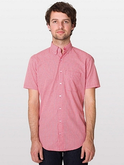 American Apparel - Gingham Short Sleeve Button-Down With Pocket