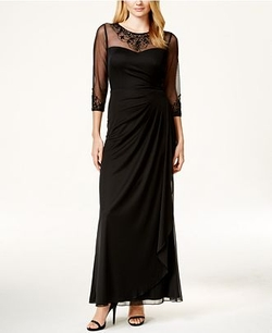 Patra  - Embellished Illusion Draped Gown