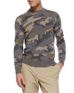 Valentino  - Camo Cashmere Crewneck Sweater