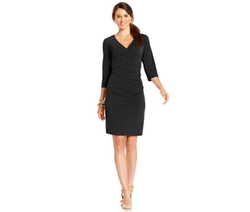 NY Collection - Faux-Wrap B-Slim Sheath Dress