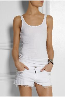 James Perse  - The Daily Ribbed Stretch-Cotton Tank