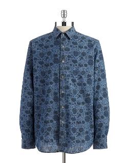 Black Brown 1826 - Cotton Floral Sportshirt