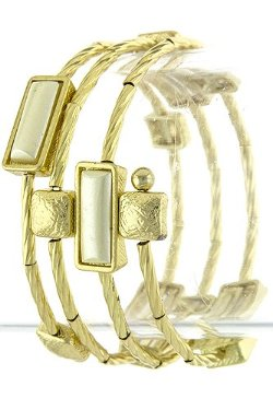 The Jewel Rack  - Rectangle Jewel Spiral Bracelet