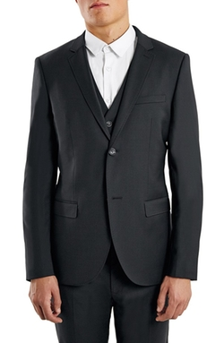 Topman  - Skinny Fit Black Suit Jacket