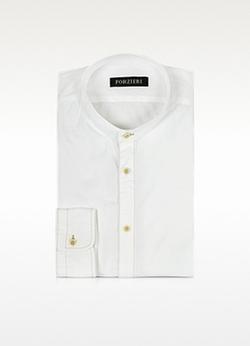 Forzieri - White Mandarin Collar Cotton Shirt