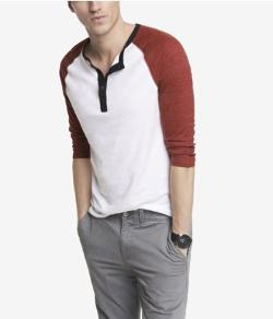 Express - Tri-color Henley Baseball Tee