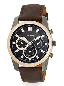 English Laundry - Chronograph Brown Leather Strap Watch
