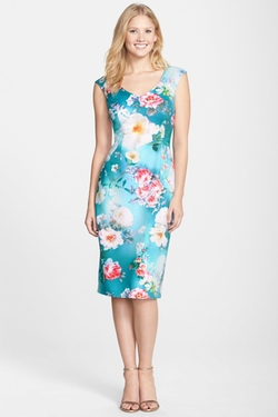Maggy London - Print Scuba Midi Dress