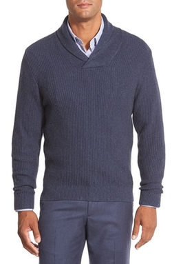 Nordstrom - Cotton Blend Shawl Collar Sweater
