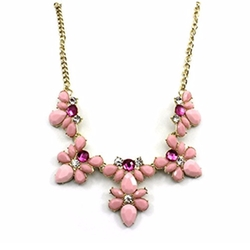 HuntGold  - Elegant Flower Acrylic Diamond Pendant Necklace