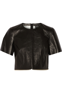 McQ Alexander Mcqueen  - Cropped Zip-Embellished Leather Top