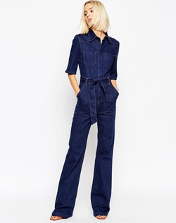 ASOS  - Denim Patch Pocket Flared Jumpsuit