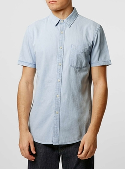 Topman - White Denim Western Short Sleeve Casual Shirt