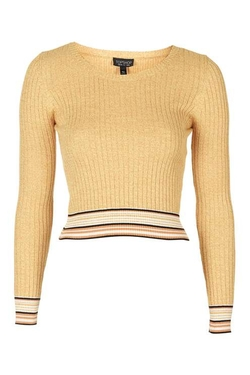 Topshop - Long Sleeve Ribbed Crop Top